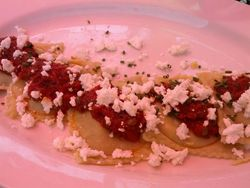 Zuchini Raviolli with tomato sauce and Feta