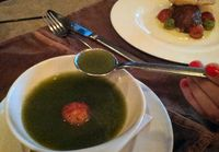 Cucumber Soup with Lobster Fritter and Quesa Blanco