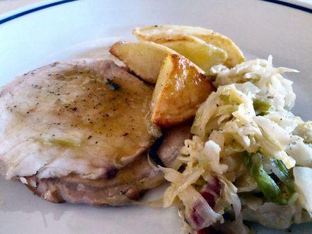 Castello D'Albola dinner pork and cabbage