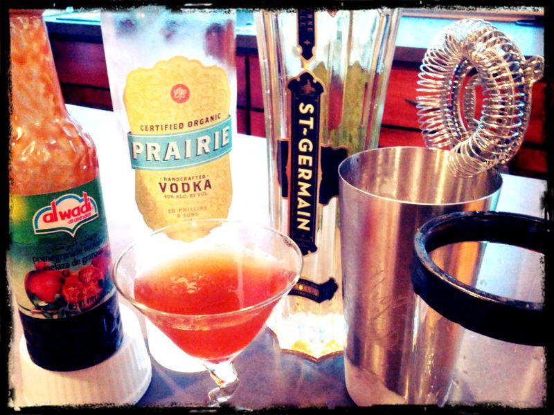 Pomegranate molasses, Prarie Vodka, St Germain Elderflowder Liquor