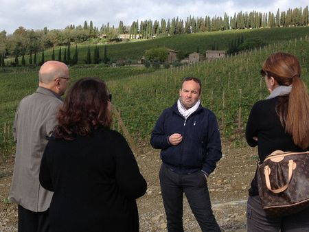 With the Wine Maker in Chianti vineyards