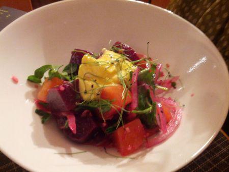 Kashmiri Beet Salad  pickled beets infused with saffron shirkhand  (yogurt-based)