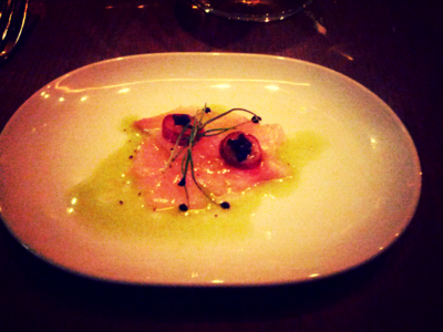 Hamachi, Green Grapes, Yuzu, Chive Oil
