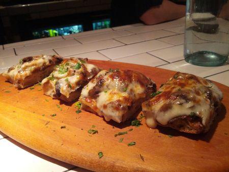 Bruschetta Ai Funghi E Montasio mushroom bruschetta and montasio cheese
