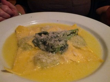 Giotto Triangular Shaped Raviolo stuffed with Ricoota and Spinage in a butter Sage Sauce