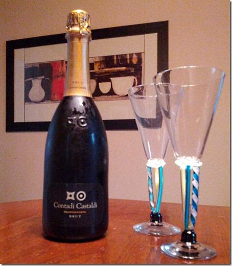 Contadi Castaldi Bottle with Glasses
