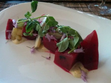 Pickled Beets, Greens, Nasturtium Flowers, Blue Sheep <br>Cheese Gold Apples