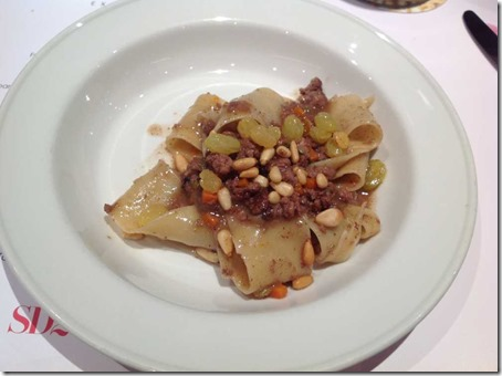 Wild Boar Ragu  with toasted pine nuts and pickled raisins