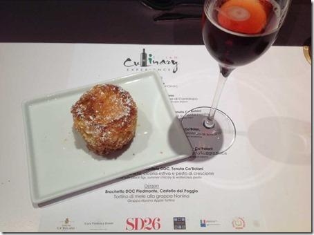 Apple Tarte with Grappa Nonino with Brachetto Sparkling Wine from Castell del Poggio