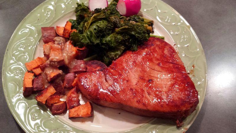 Seared Tuna Sweet Potatoes and Kale
