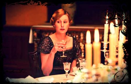 Edith Crawley Sips her WIne and Contemplates