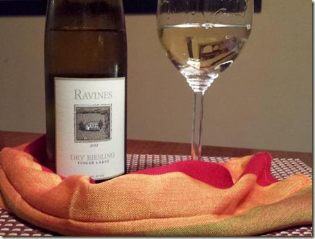 Ravines Finger Lakes Dry Reisling wine and glass