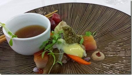 Kombu Cured Tuna, Rice, Egg, Pickled Vegetables, Nori, Smoked Kombu Broth, Fermented Tofu Pic