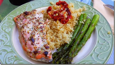 Salmon in a Mustard Sauc with Asparagus and Quinuoa