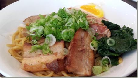 Mazeman brothless bowl, chashu chicken, chashu pork, kakuni, ajitama, tsukemono & scallions