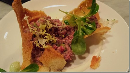 Beef Tartare with Horseradish Cream Wrapped in a Crouton cracked