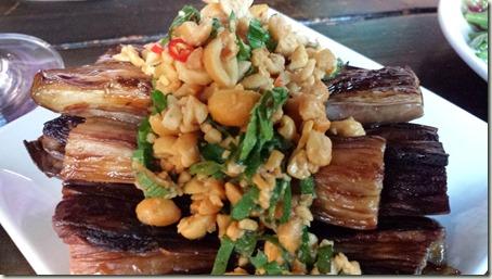 Charred Eggplant - crushed peanuts, sawtooth, Thai chili