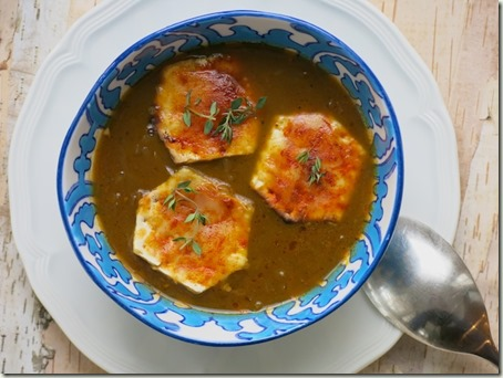 onion soup (V) with cheesy matzah croutons and thyme