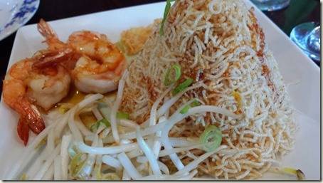 Mae Krob Crispy noodle with egg & shrimp mixed in sweet tamarind sauce