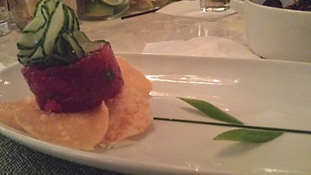 Ariane Kitchen and Bar Sashimi tuna flower, wonton crisps, wasabi crème fraiche, pickled cucumbers